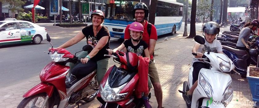 saigon motorbike tour on the way