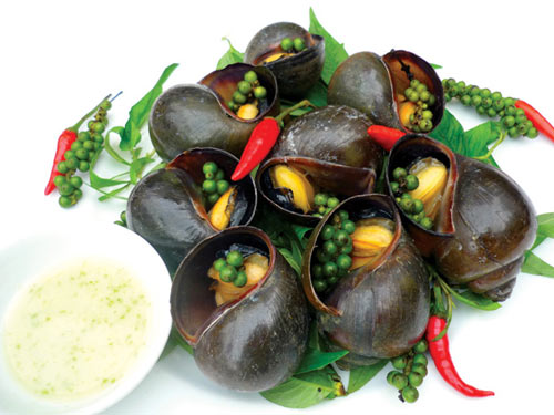 grilled snail with pepper