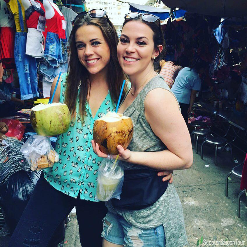 drinking coconut in saigon vietnam