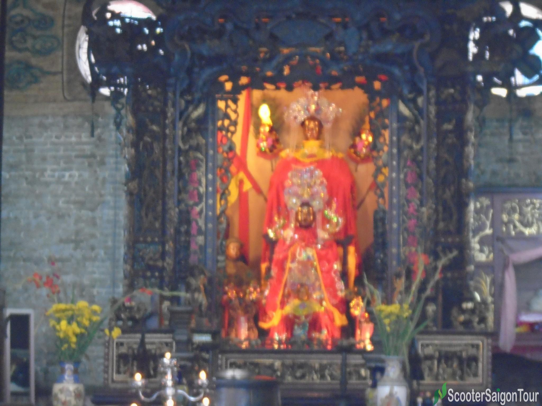 Thien Hau Temple Saigin colorful clothes on worshiped on the altar tracy