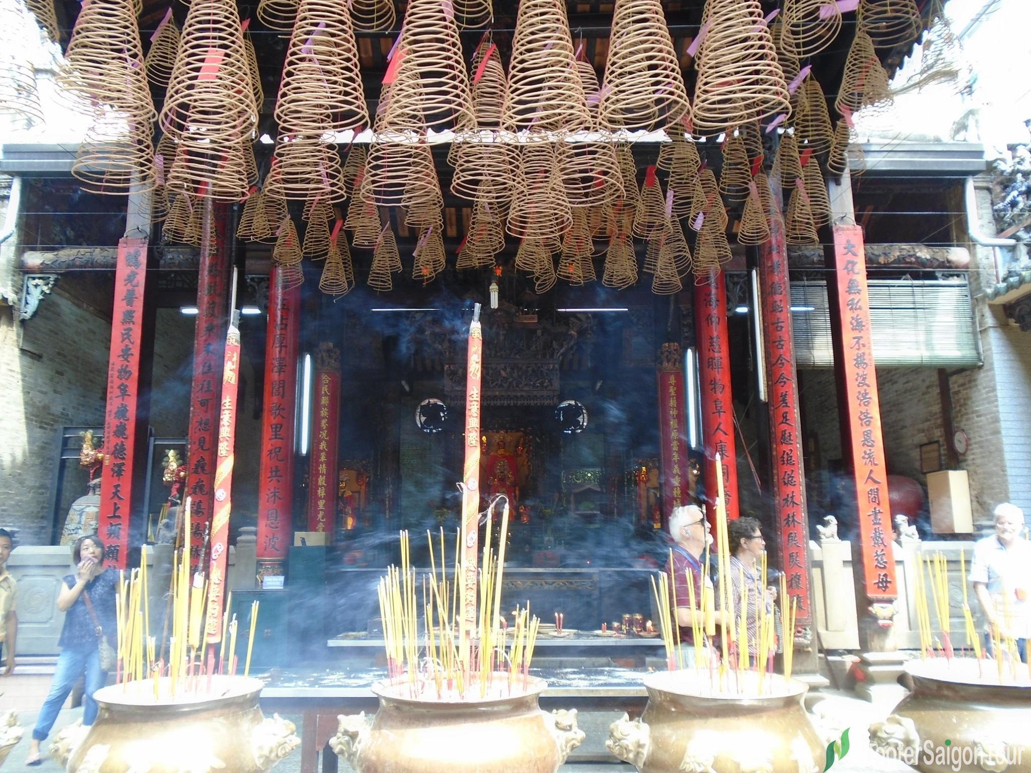 incenses hung on the top of Thien Hau Temple Saigon tracy