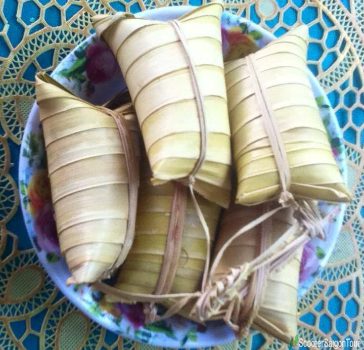 Sticky Rice Cake Wrapped In Water Coconut Leaf Or Banh La Dua In Vietnam