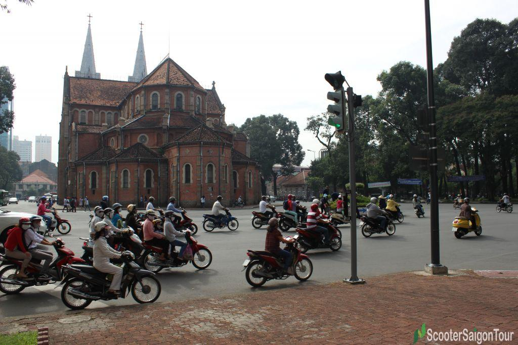 notre dame cathedal tracy scooter saigon tour