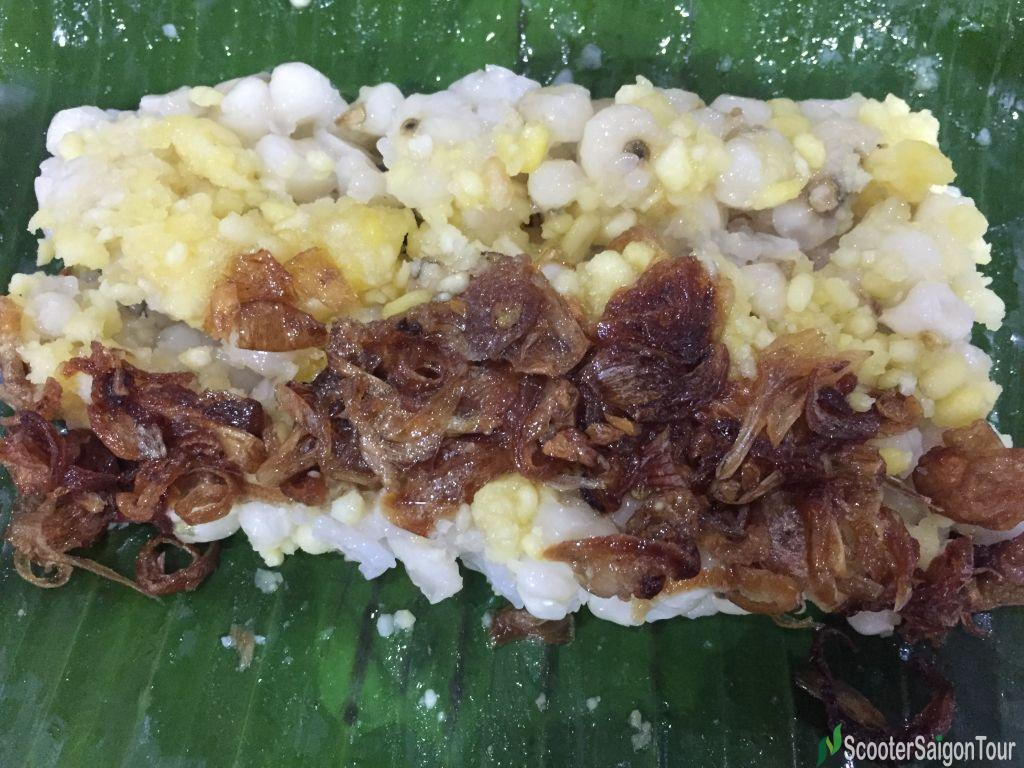 Vietnamese Steamed Sticky Rice With Corn Wrapped In Banana Leaf Or Xoi Bap