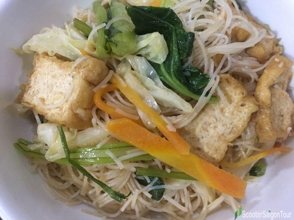 Vietnamese Vegetarian Stir Fried Rice Noodles Or Bun Xao Chay