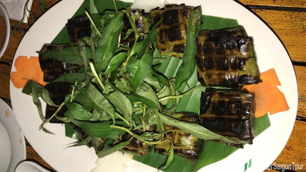 Grilled Snail Patty In Banana Leaves